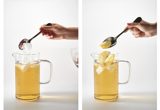 ajout glaçons et citron